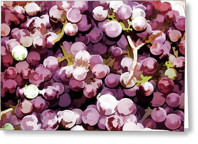 Colorful Pink Tasty Grapes In The Basket Greeting Card by Lanjee Chee