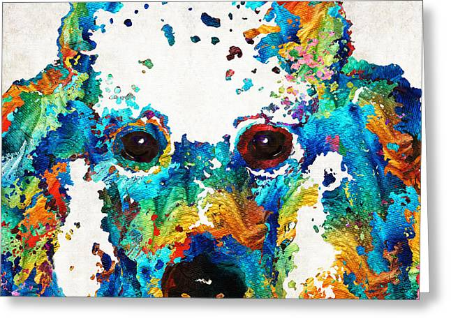 Apricots Paintings Greeting Cards - Colorful Poodle Dog Art by Sharon Cummings Greeting Card by Sharon Cummings