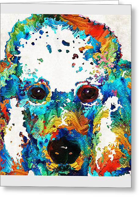 Colorful Poodle Dog Art By Sharon Cummings Greeting Card by Sharon Cummings
