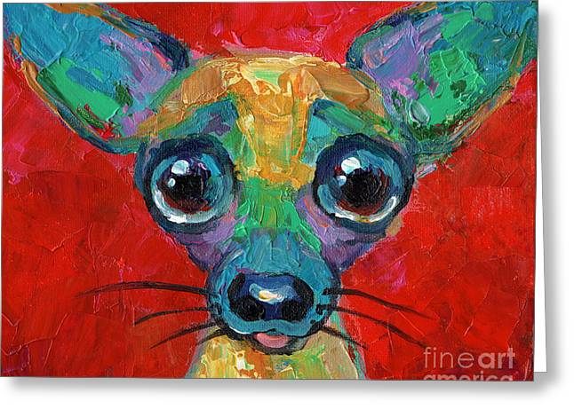 Custom Portraits Greeting Cards - Colorful Pop art chihuahua painting Greeting Card by Svetlana Novikova