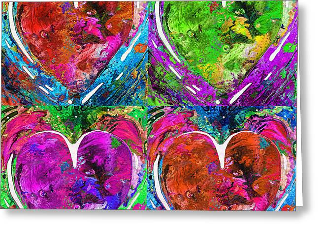 Colorful Pop Hearts Love Art By Sharon Cummings Greeting Card by Sharon Cummings
