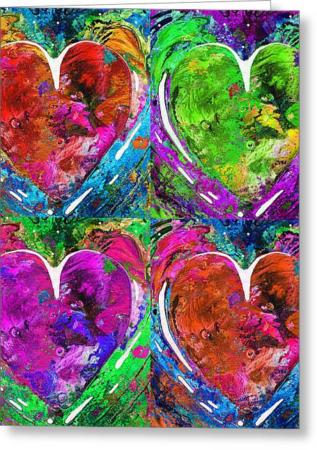 Decorate Greeting Cards - Colorful Pop Hearts Love Art By Sharon Cummings Greeting Card by Sharon Cummings