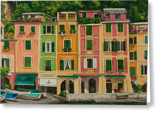 Colorful Portofino Greeting Card by Charlotte Blanchard