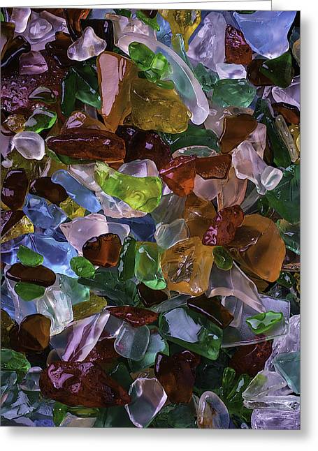 Treasures Greeting Cards - Colorful Pretty Sea Glass Greeting Card by Garry Gay