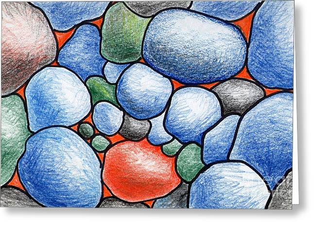 Colorful Rock Abstract Greeting Card by Nancy Mueller