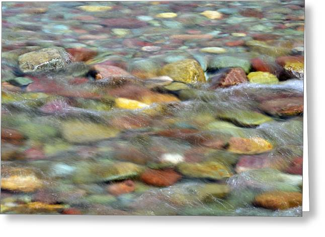 Bruce Gourley Greeting Cards - Colorful Rocks in Two Medicine River in Glacier National Park Greeting Card by Bruce Gourley