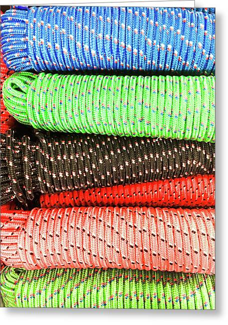 Colorful Rope Greeting Card by Tom Gowanlock
