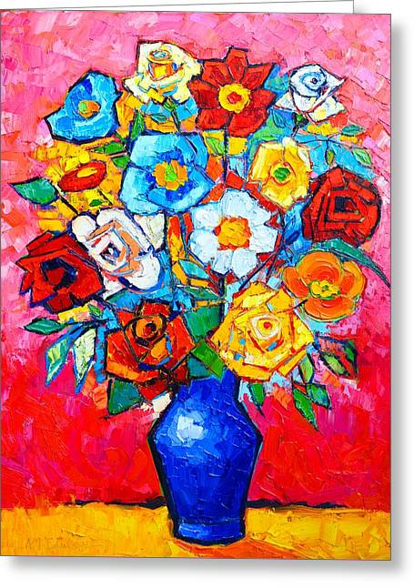 Table Greeting Cards - Colorful Roses And Camellias - Abstract Bouquet Of Flowers Greeting Card by Ana Maria Edulescu