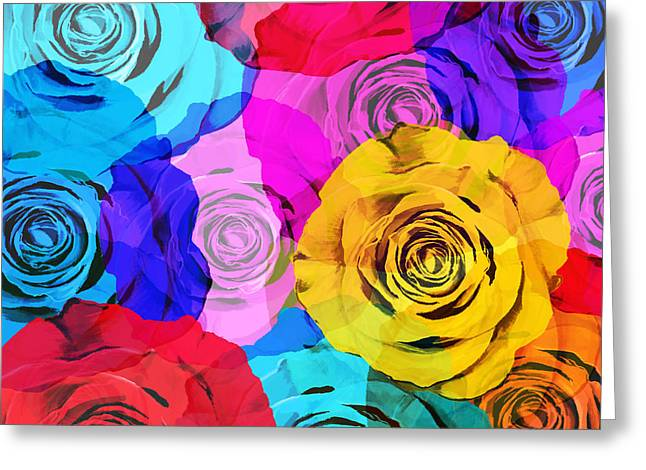 Layers Greeting Cards - Colorful Roses Design Greeting Card by Setsiri Silapasuwanchai