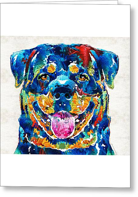 Omens Greeting Cards - Colorful Rottie Art - Rottweiler by Sharon Cummings Greeting Card by Sharon Cummings