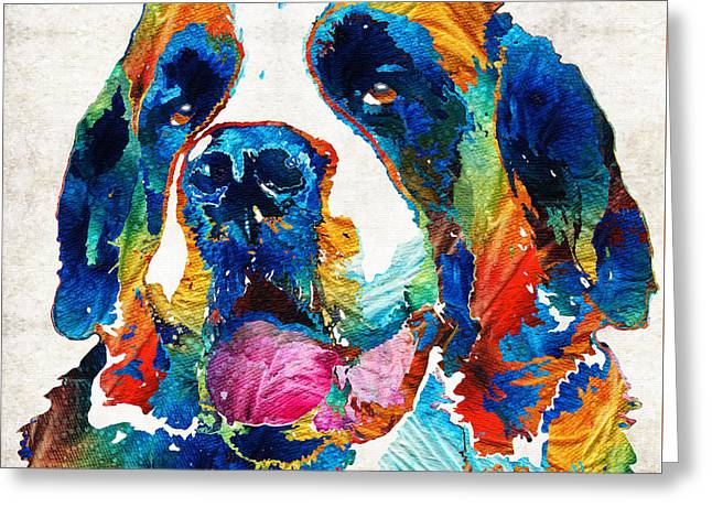 Furry Coat Greeting Cards - Colorful Saint Bernard Dog by Sharon Cummings Greeting Card by Sharon Cummings
