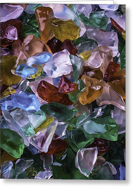 Colorful Sea Glass Greeting Card by Garry Gay