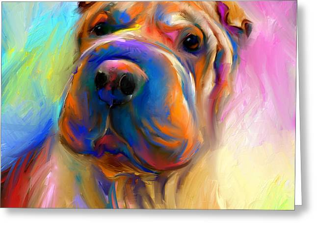 Colorful Shar Pei Dog portrait painting  Greeting Card by Svetlana Novikova