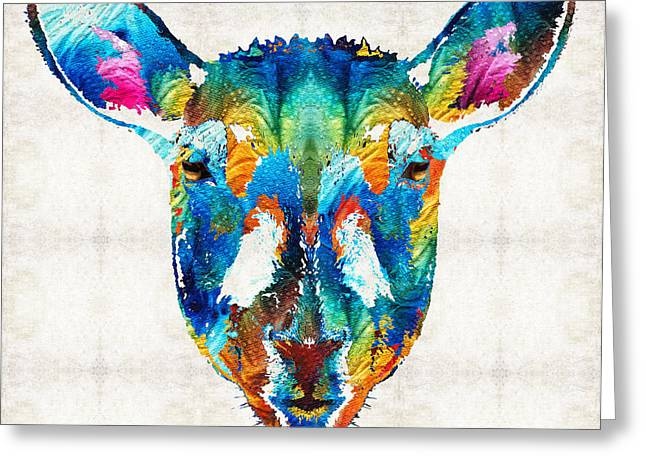 Sleepy Greeting Cards - Colorful Sheep Art - Shear Color - By Sharon Cummings Greeting Card by Sharon Cummings