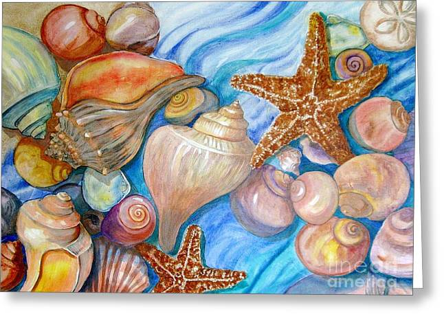 Portray Greeting Cards - Colorful Shells Greeting Card by Nancy Yarnall von Halle
