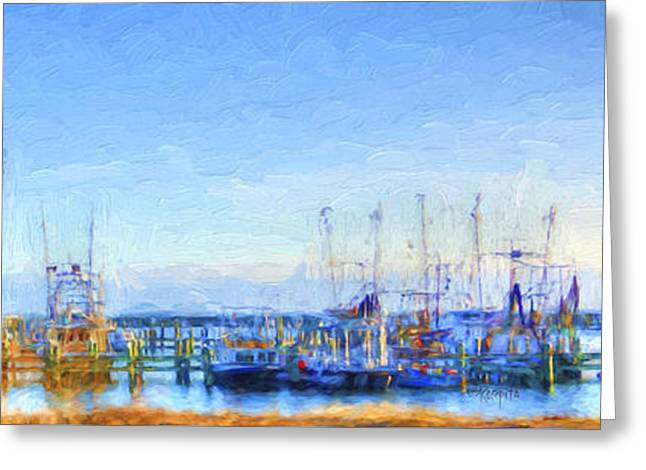 Shower Curtain Greeting Cards - Colorful Shrimp Boat Harbor Pass Christian MS Greeting Card by Rebecca Korpita