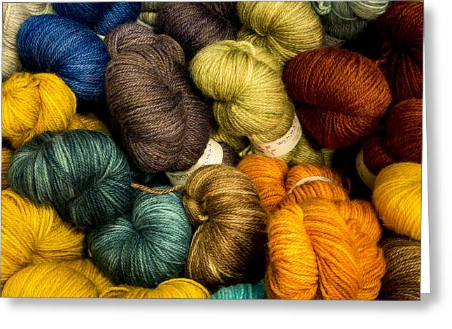 Colorful Skeins Greeting Card by Jean Noren