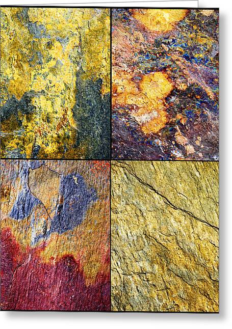 Erickson Greeting Cards - Colorful Slate Tile Abstract Composite Sq1 Greeting Card by Donald  Erickson