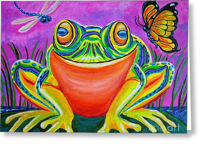 Colrful Greeting Cards - Colorful Smiling frog-VooDoo Frog Greeting Card by Nick Gustafson