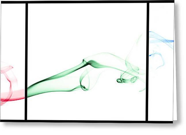 Colorful Smoke II - Rgb Triptych Greeting Card by Scott Norris