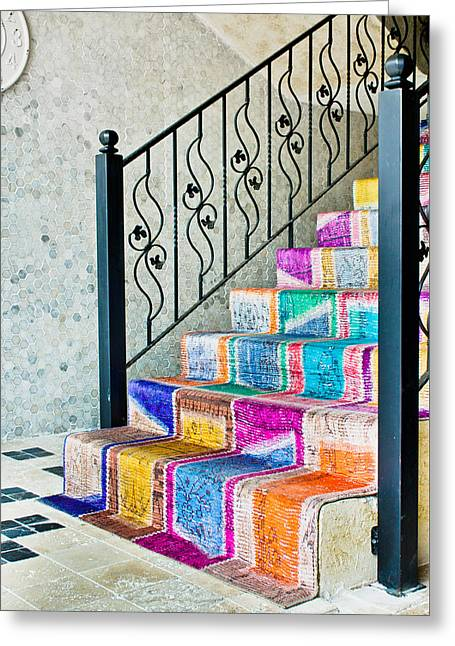 Stepping Stones Greeting Cards - Colorful stairs Greeting Card by Tom Gowanlock