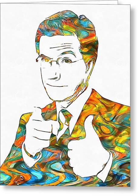 Improvisational Greeting Cards - Colorful Stephen Colbert Greeting Card by Dan Sproul