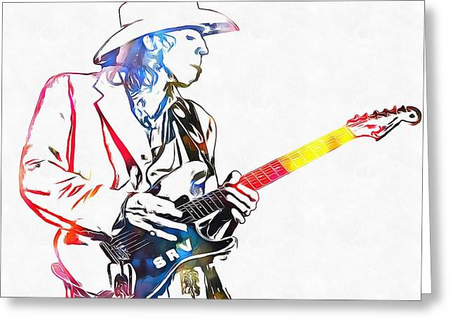 Live Music Mixed Media Greeting Cards - Colorful Stevie Ray Vaughan Greeting Card by Dan Sproul