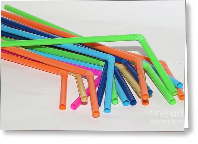 Colorful Straws Greeting Card by Elvira Ladocki