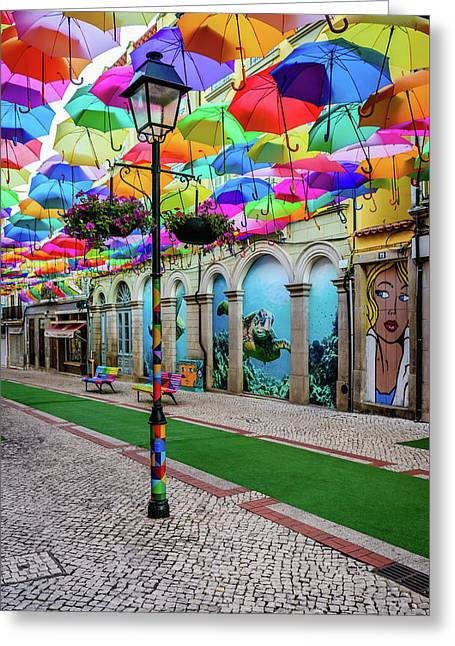 Colorful Street Greeting Card by Marco Oliveira