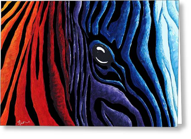 Zebra Face Greeting Cards - Colorful Stripes Original Zebra Painting by MADART in Black Greeting Card by Megan Duncanson