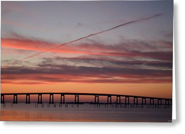 Navarre Beach Greeting Cards - Colorful Sunrise over Navarre Beach Bridge Greeting Card by Jeff at JSJ Photography