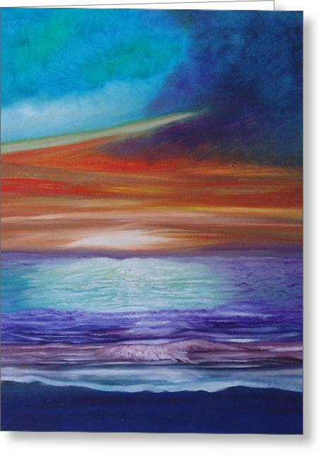 On The Beach Greeting Cards - Colorful Sunset Greeting Card by Fiona Dinali