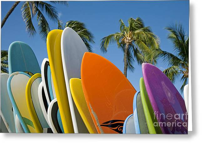 Colorful Surfboards Greeting Card by Ron Dahlquist - Printscapes