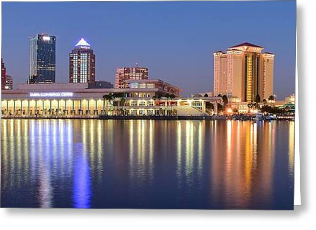 Convention Greeting Cards - Colorful Tampa Panorama Greeting Card by Frozen in Time Fine Art Photography