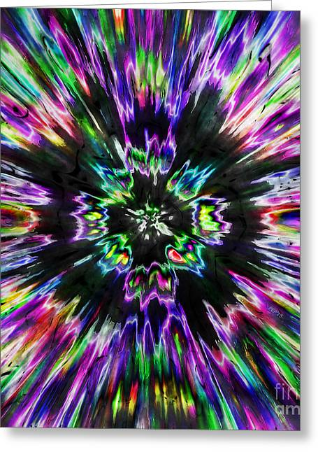 Colorful Tie Dye Abstract Greeting Card by Phil Perkins