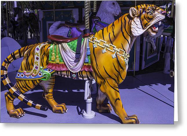 Colorful Tiger Ride Greeting Card by Garry Gay