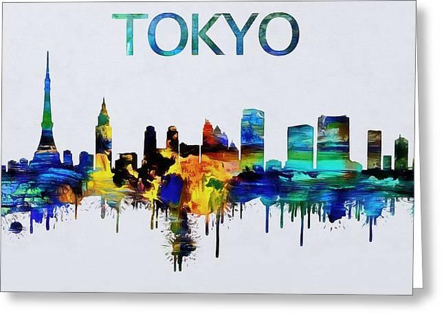 Colorful Tokyo Skyline Silhouette Greeting Card by Dan Sproul