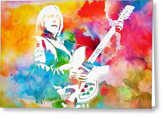Colorful Tom Petty Greeting Card by Dan Sproul