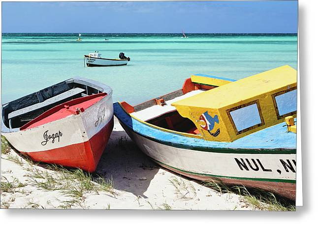 Aruba Greeting Cards - Colorful Traditional Fishing Boats Greeting Card by George Oze