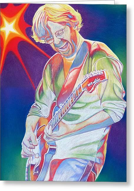 Colorful Trey Anastasio Greeting Card by Joshua Morton