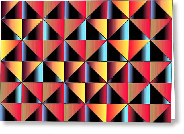 Algorithmic Greeting Cards - Colorful triangles Greeting Card by Gaspar Avila
