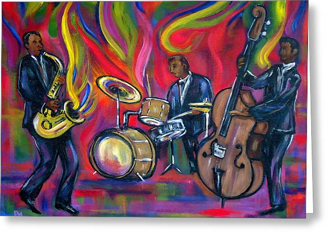 Saxaphone Greeting Cards - Colorful Trio Greeting Card by Pete Maier