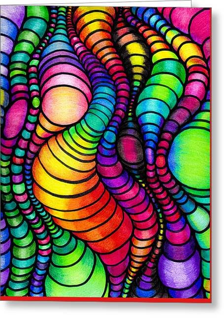 Optical Art Drawings Greeting Cards - Colorful Tube Worms - Op Art Greeting Card by Nalinne Jones