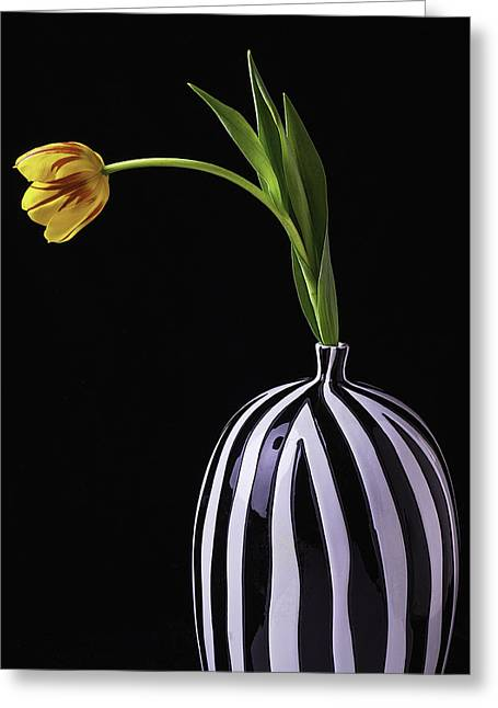 Rain Drop Greeting Cards - Colorful Tulip In Vase Greeting Card by Garry Gay