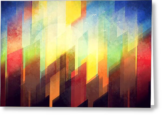 Abstract Shapes Greeting Cards - Colorful urban design Greeting Card by Thubakabra