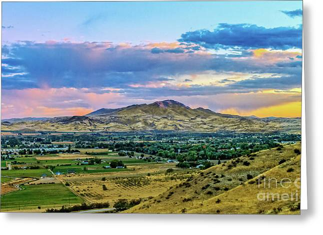 Colorful Valley Greeting Card by Robert Bales