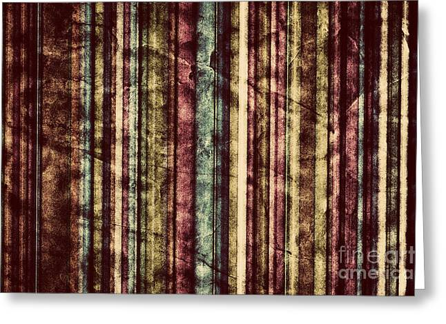 Colorful Vertical Stripes Background In Vintage Retro Style  Greeting Card by Michal Bednarek
