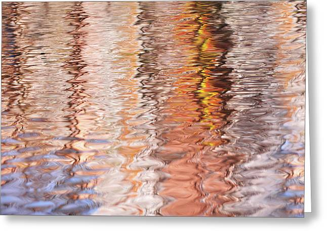 Colorful Water Reflections Abstract Greeting Card by Jenny Rainbow