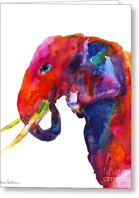 Whimsical. Greeting Cards - Colorful watercolor elephant Greeting Card by Svetlana Novikova