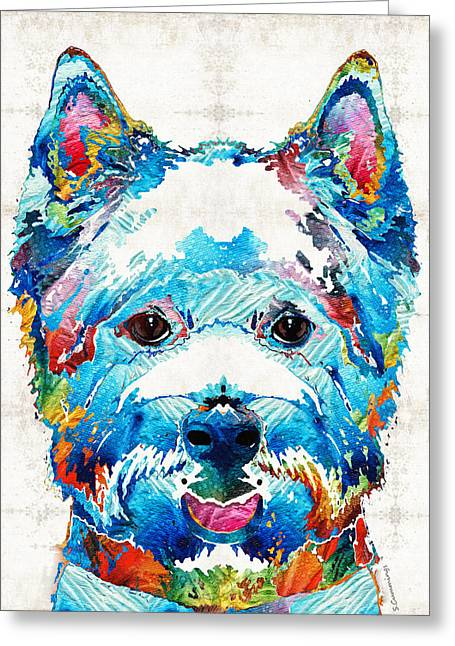 Doggie Greeting Cards - Colorful West Highland Terrier Dog Art Sharon Cummings Greeting Card by Sharon Cummings